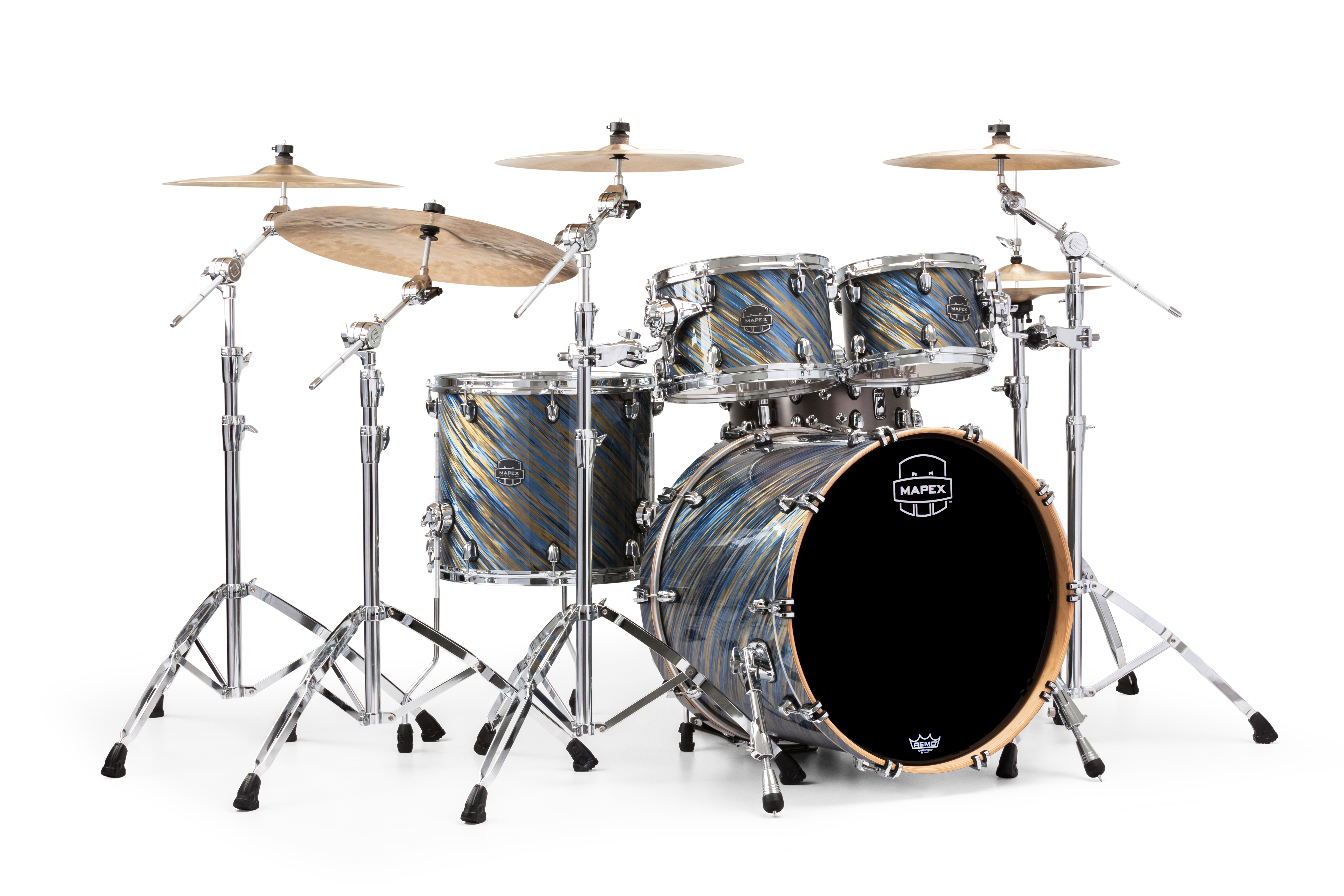 Mapex Saturn V MH Rock 4-piece shell pack with SONIClear Edge - SV529XUMA - Marine Spiral