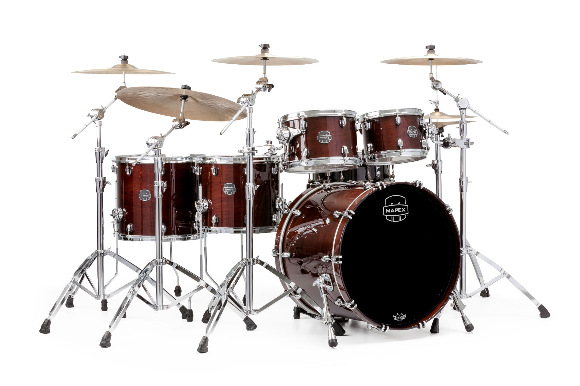 Mapex Saturn V MH Studioease 5-piece shell pack with SONIClear Edge - SV628XUTW - Transparent Espresso Walnut