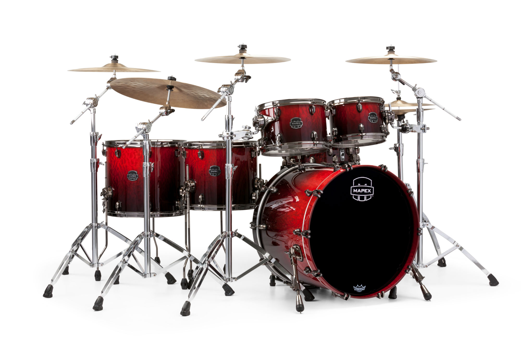 Mapex Saturn V MH Exotic Studioease 5-piece shell pack with SONIClear Edge - SV628XUBRLE - Cherry Mist Rosewood Burl