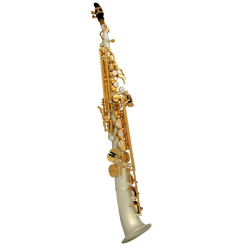 Schiller La Première Soprano Semi-Curved Saxophone – Silver Satin w/ Gold Keys