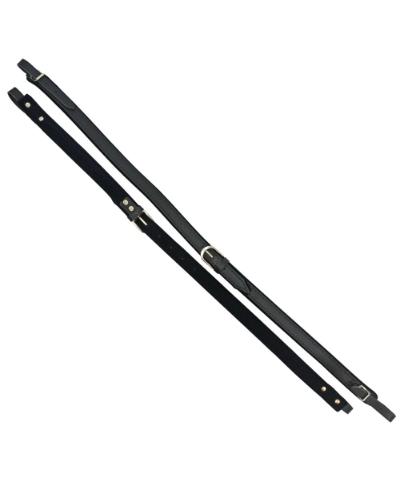 Excalibur Button Accordion Straps - Black Leather