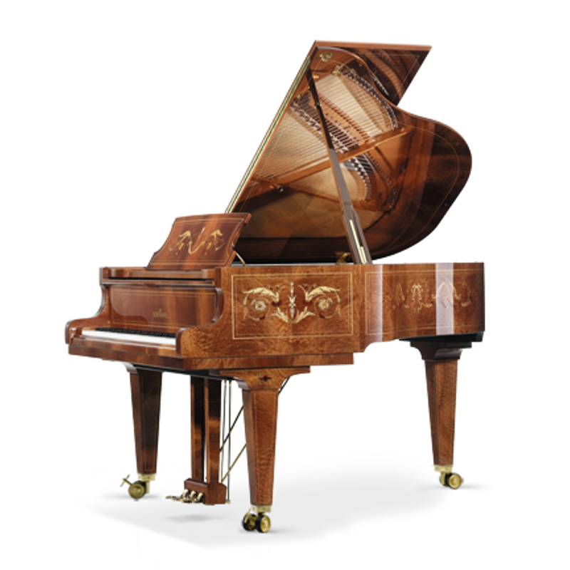 Schimmel Meisterstucke Traditional Intarsie Liaison Grand Piano - Mahogany High Gloss