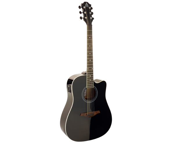 Hohner AS305CE-BK Dreadnought Cutaway Acoustic Electric Black Guitar