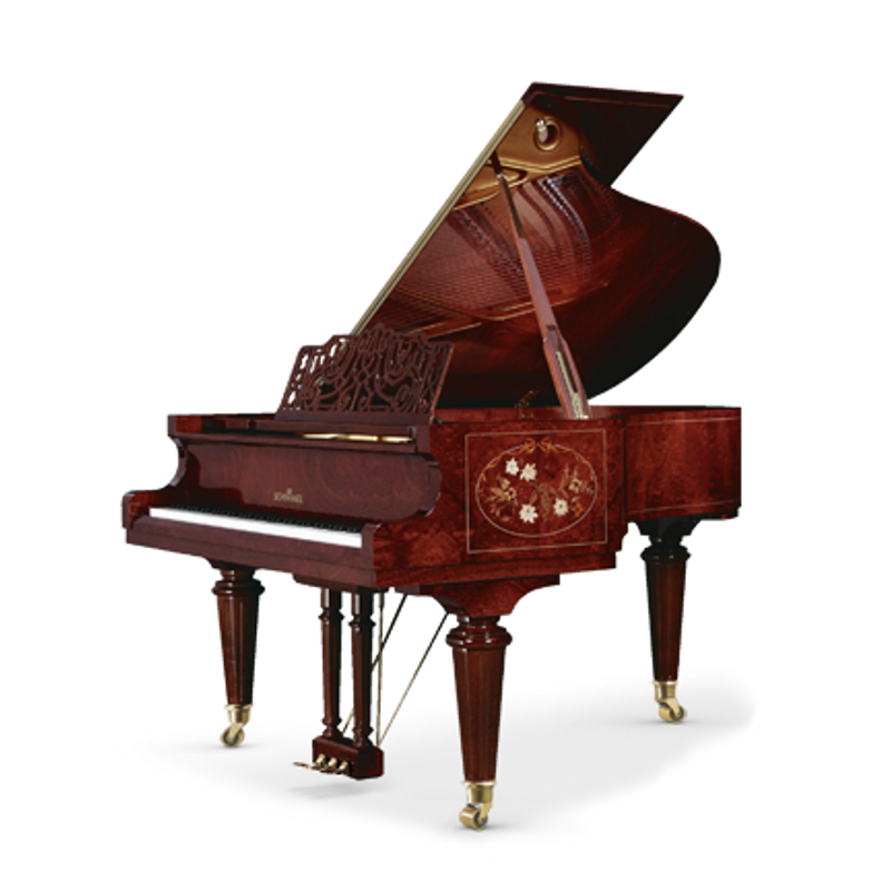 Schimmel Meisterstucke Royal Intarsie Oval Grand Piano - Bubinga High Gloss