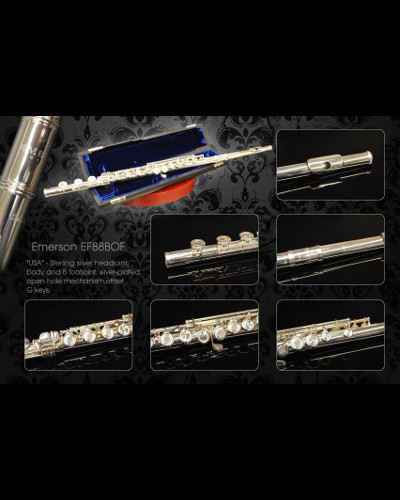 Emerson EF88BOF Flute Open Hole ( All Sterling Silver ) Professional