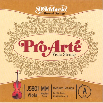 D Addario J5801 Pro-Arte Viola Strings Medium Tension