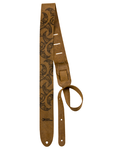 Luna Guitar Strap Leather Tattoo Pattern Brown