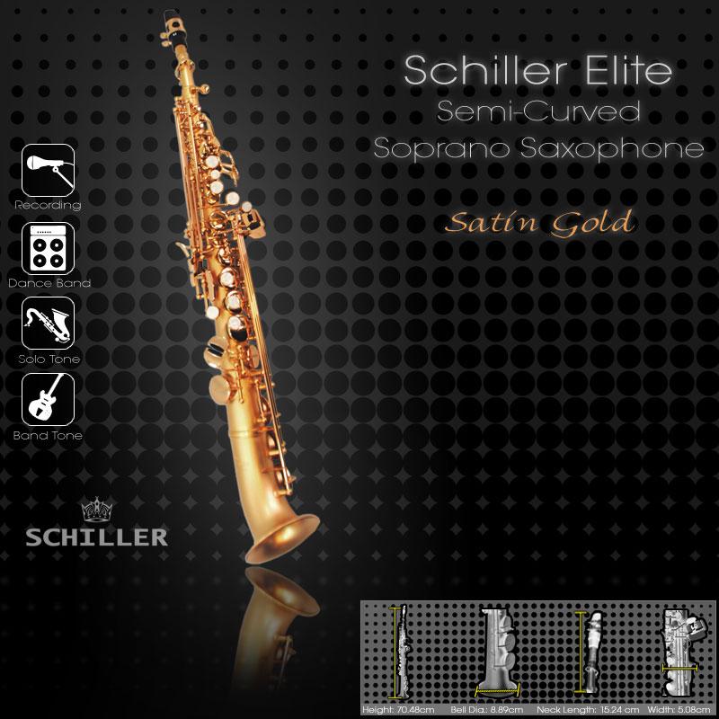 Schiller Elite IV Semi-Curved Soprano Saxophone - Satin Gold