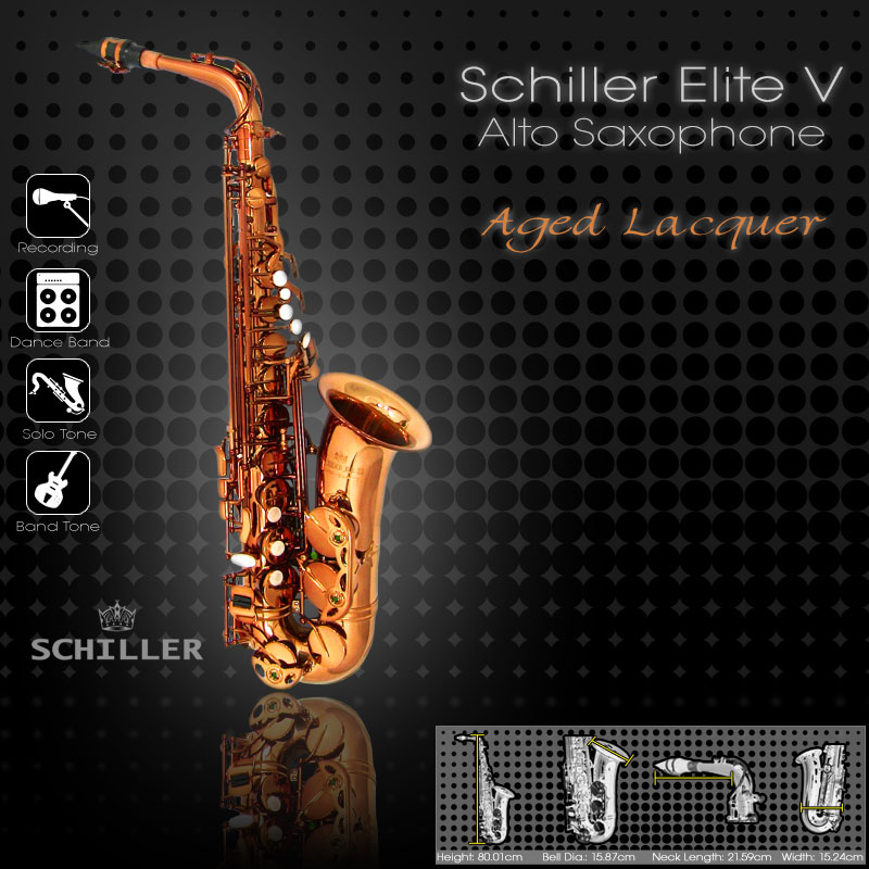 Schiller Elite V Alto Saxophone - Aged Lacquer