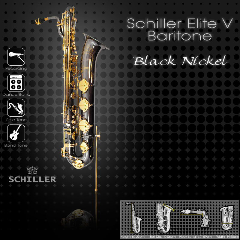Schiller Elite V Baritone Saxophone - Black Nickel