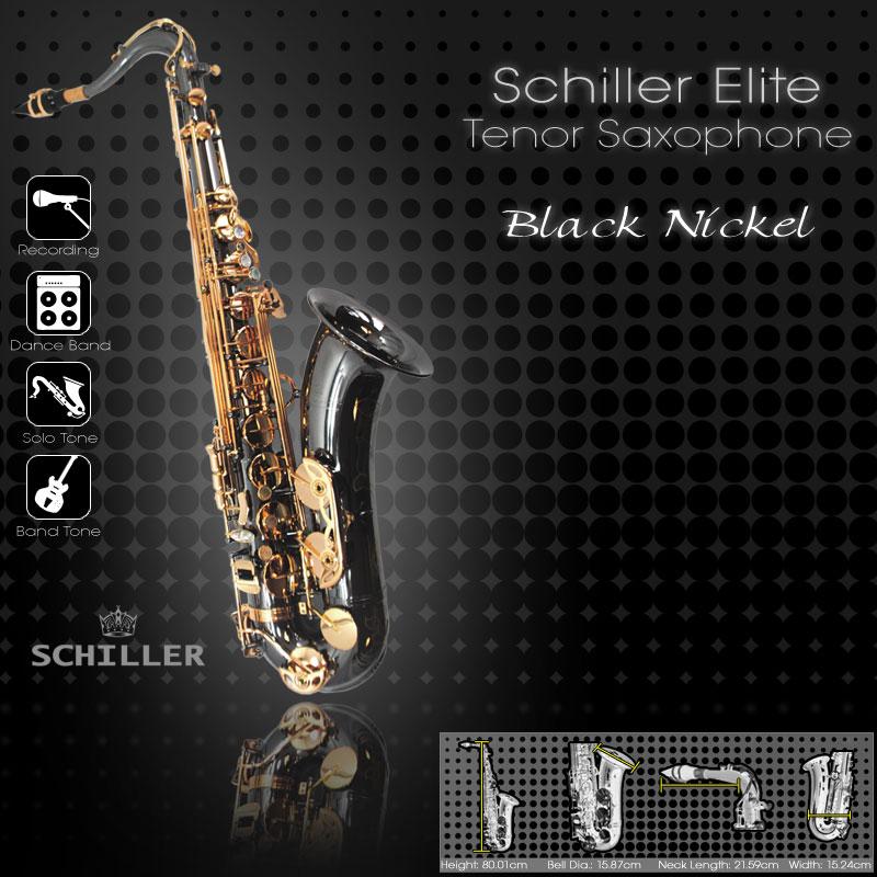 Schiller Elite V Tenor Saxophone - Black Nickle & Gold