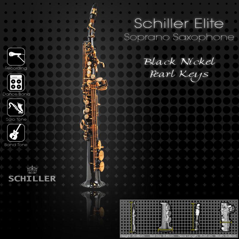 Schiller Elite V Soprano Saxophone - Black Nickle Plated w/ Gold & Pearl Keys