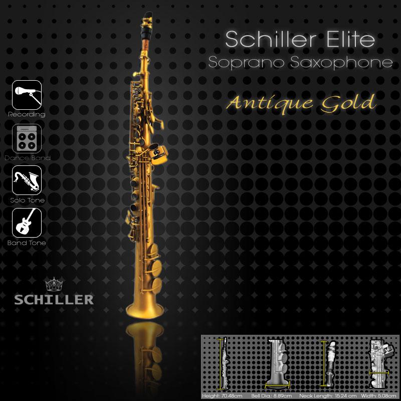 Schiller Elite Soprano Saxophone V Luxus - Antique Gold