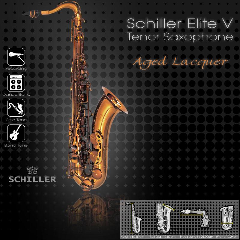 Schiller Elite V Tenor Saxophone - Aged Gold Lacquer