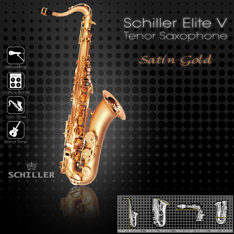 Schiller Elite V Tenor Saxophone - Satin Gold