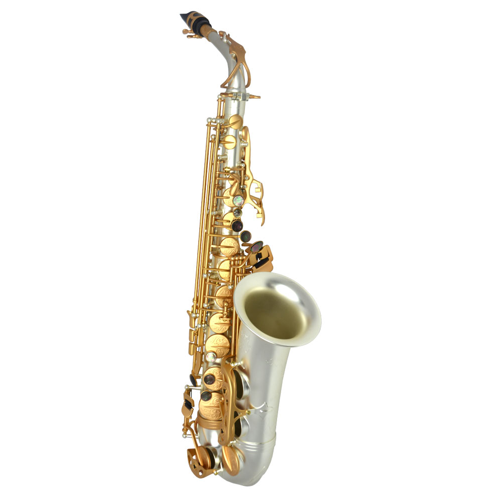 Schiller Havana Alto Saxophone - Sandblasted Silver Plated with Roman Gold Keys