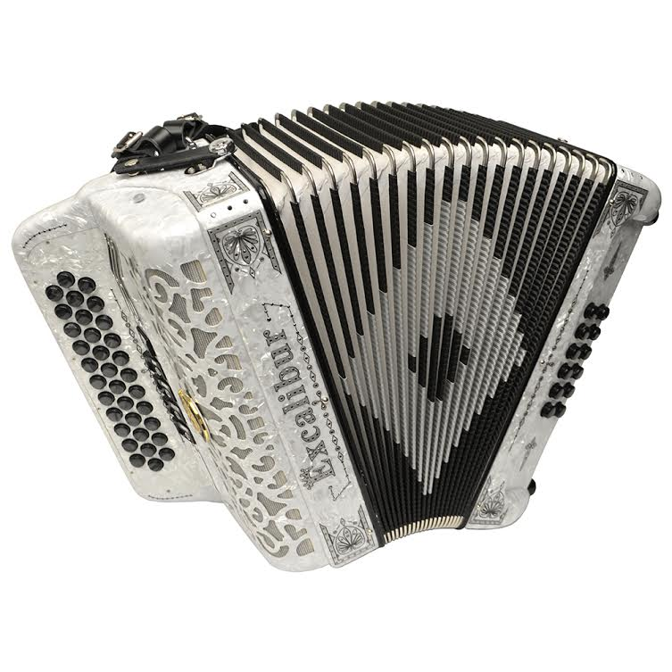 Excalibur Crown Custom 5 Switch Button Accordion - Pearl White