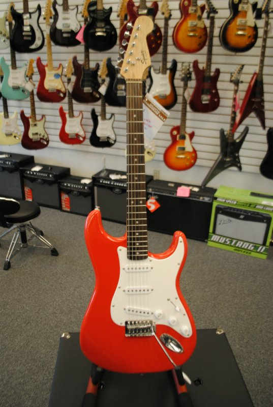 Squier Bullet Strat Red Electric Guitar With Gig Bag