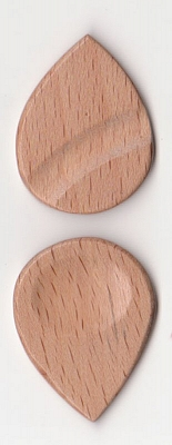 Thicket Wooden Guitar Pick - Thumb & Finger Groove - Steam Beech - Pack of Three