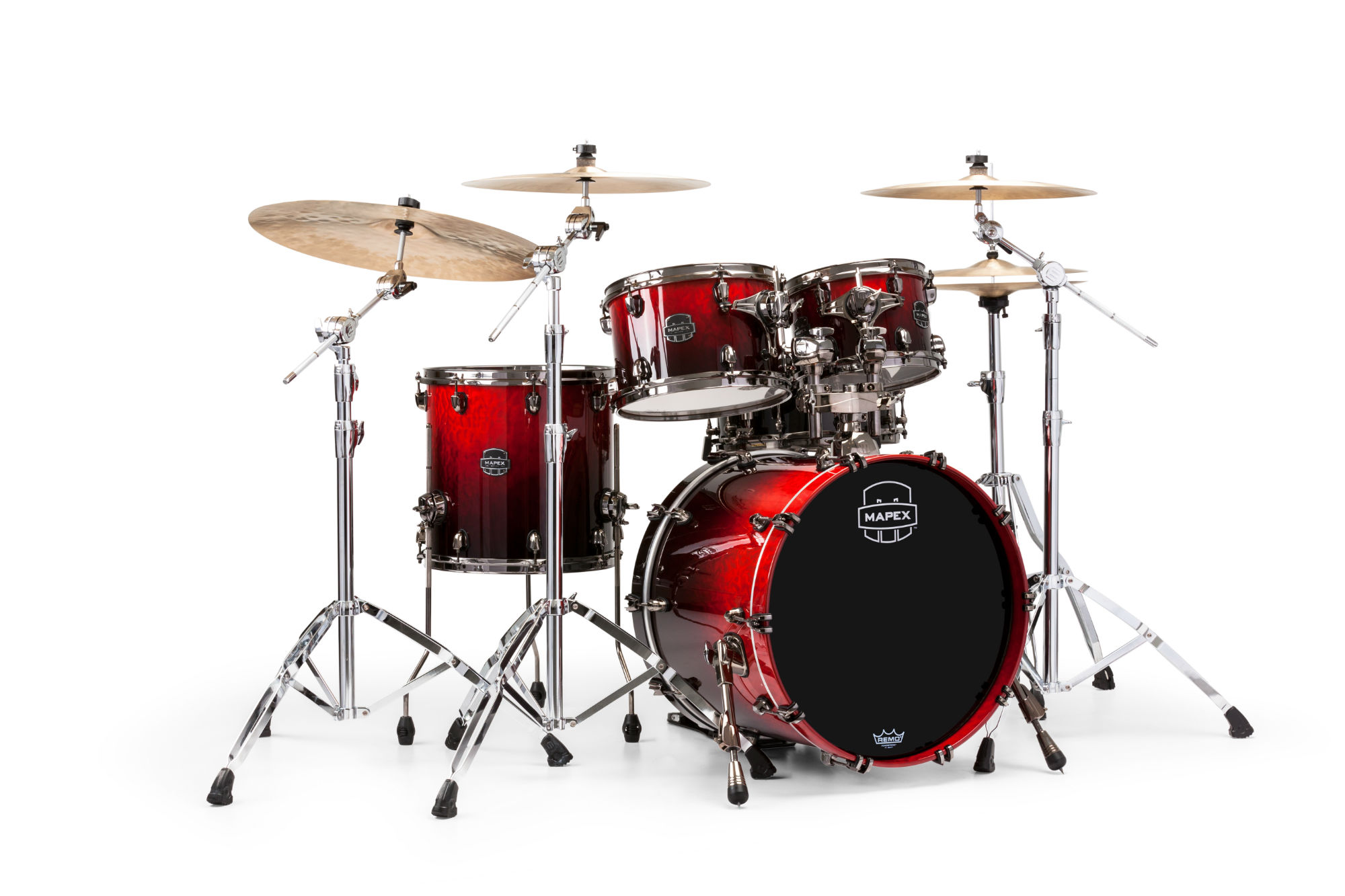 Mapex Saturn V MH Exotic Fusion 4-piece shell pack with SONIClear Edge - SV504XBKLE - Cherry Mist Maple Burl
