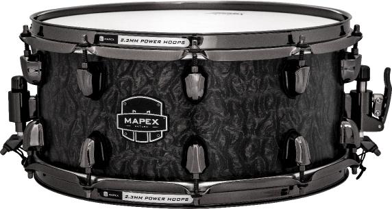 Mapex Saturn MH Exotic Snare Drum - Satin Black Maple Burl - SVS4650BKFB