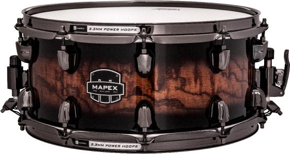 Mapex Saturn MH Exotic Snare Drum - Transparent Ash Burl Burst - SVS4650BSWV