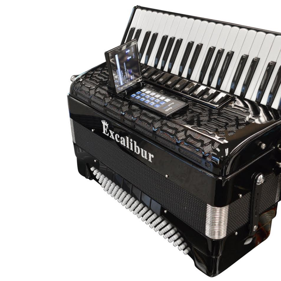 Excalibur Crown Triple Mussette Piano Accordion with ELX - Black