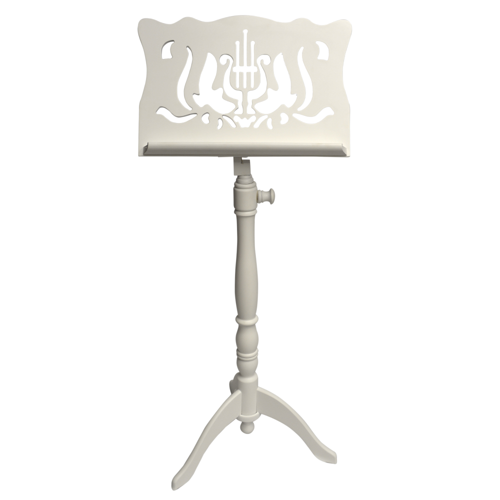 Frederick Adjustable Music Stand - White Satin Designer