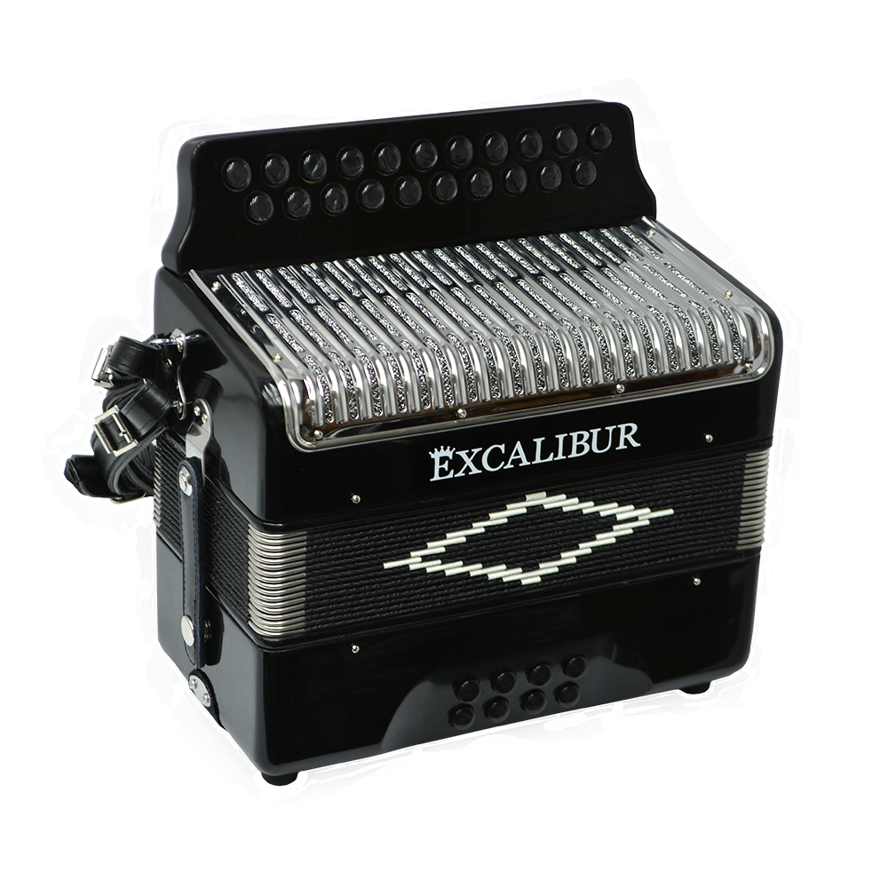 Excalibur Super Classic PSI 2 Row - Button Accordion - Black - Key of DG