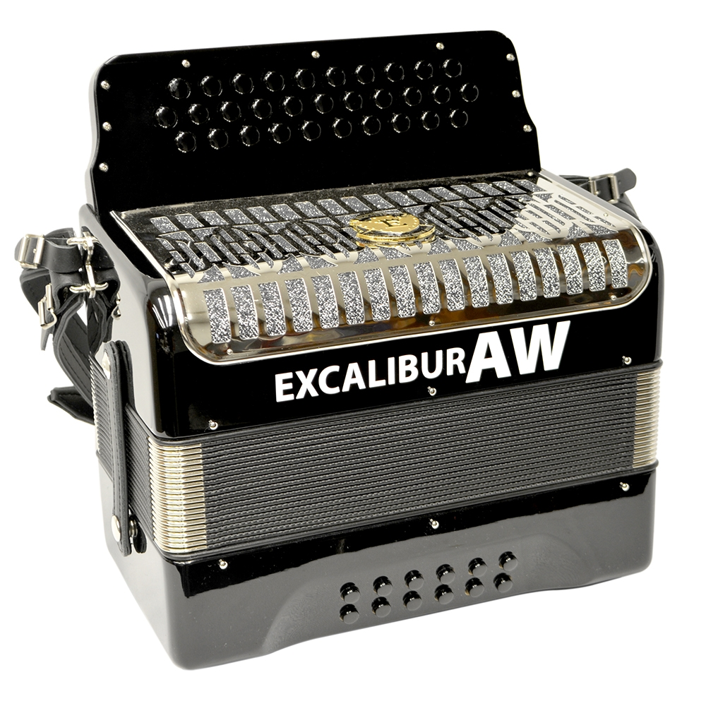 Excalibur Akordeon Werks Button Accordion - Ebony Polish