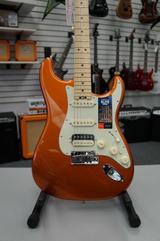 Fender® American Elite Stratocaster® HSS Shawbucker™ Electric Guitar - Autumn Blaze Metallic
