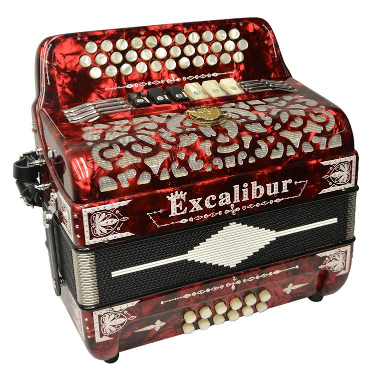 Excalibur Crown Custom Two Tone Button Accordion - Pearl Red