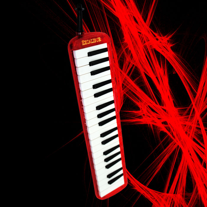 Excalibur 37 Note Melodica Burning Red Transparent