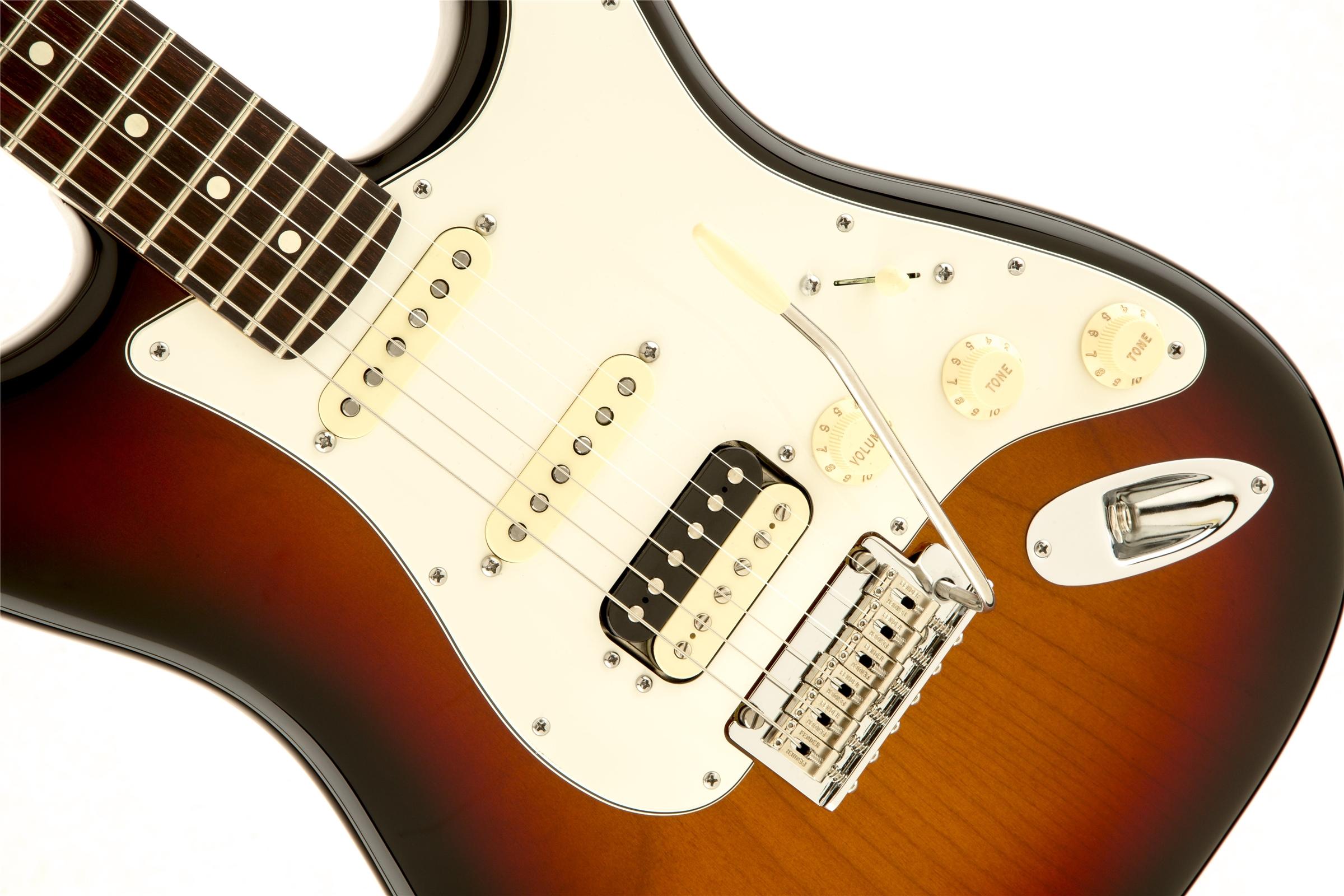 Fender American Standard Stratocaster Hss Shawbucker 3 Color Squier Sunburst Rosewood Fingerboard Electric Guitar