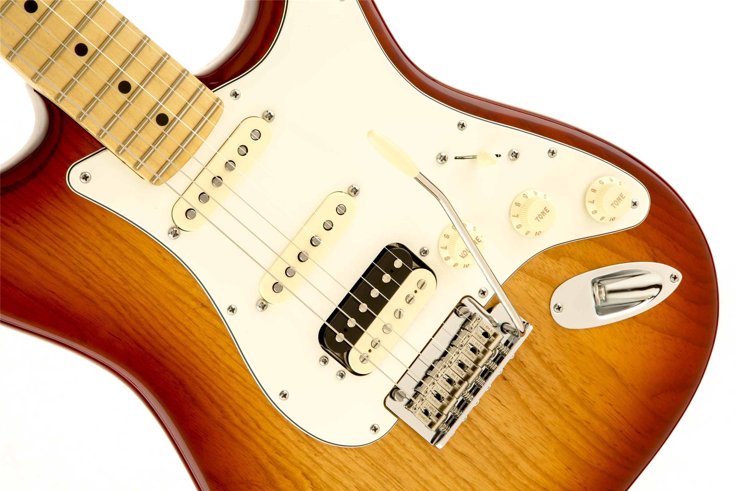 Fender American Standard Stratocaster® HSS Shawbucker™ Sienna Sunburst Maple Fingerboard Electric Guitar