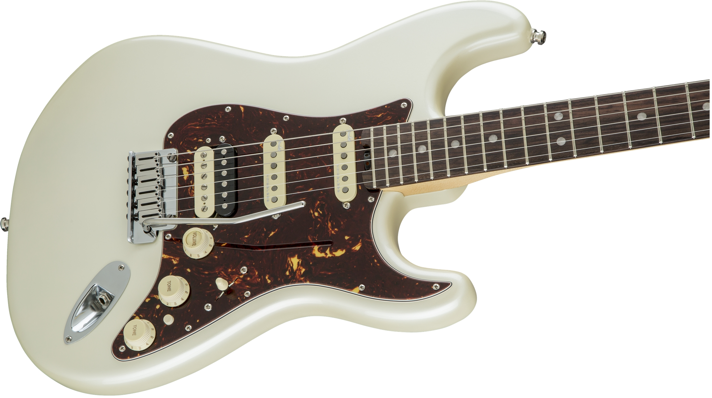 Fender American Elite Stratocaster® HSS Shawbucker Olympic Pearl Rosewood Fingerboard Electric Guitar