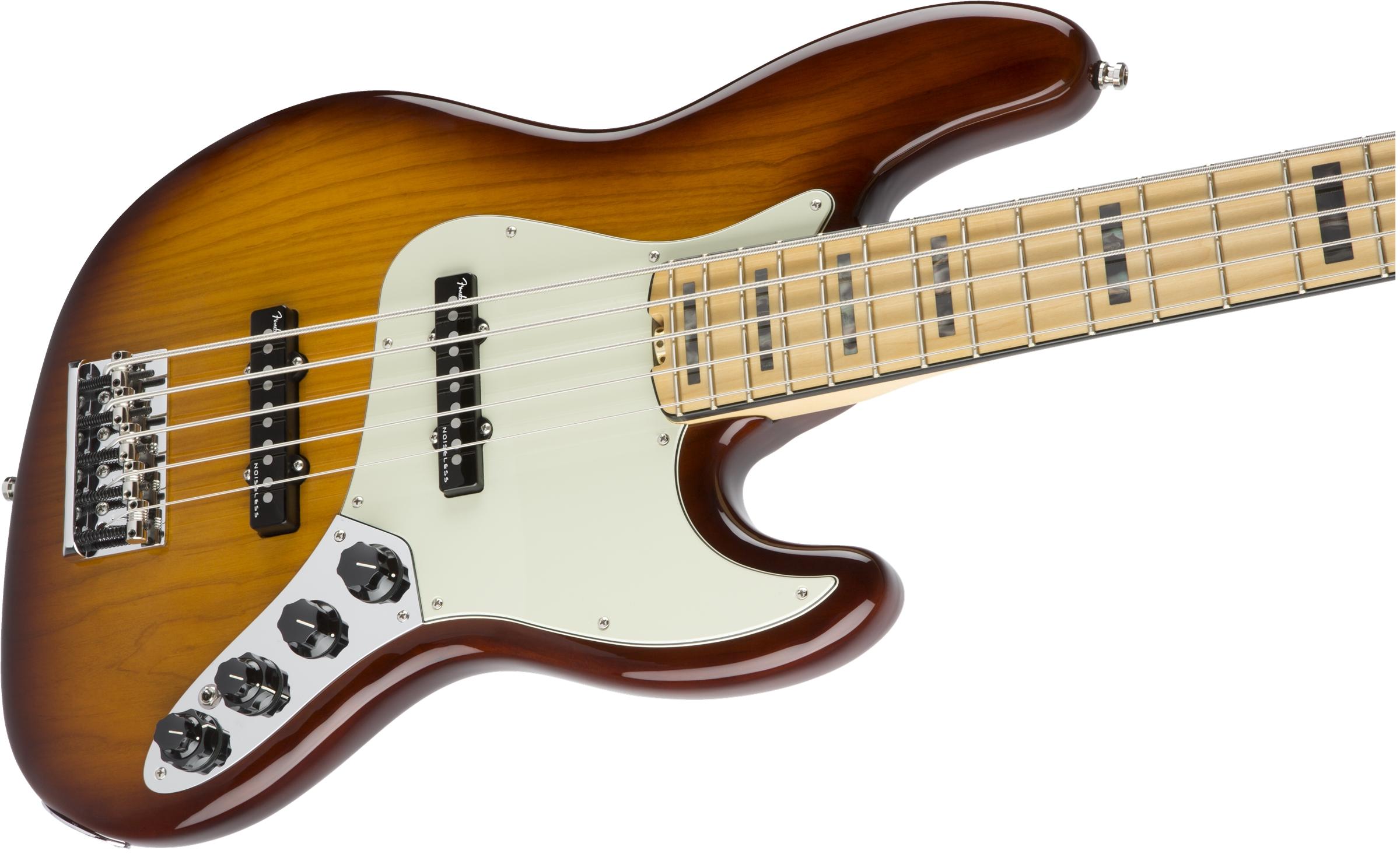 Fender American Elite Jazz Bass® V Tobacco Sunburst Maple Fingerboard Electric Bass Guitar