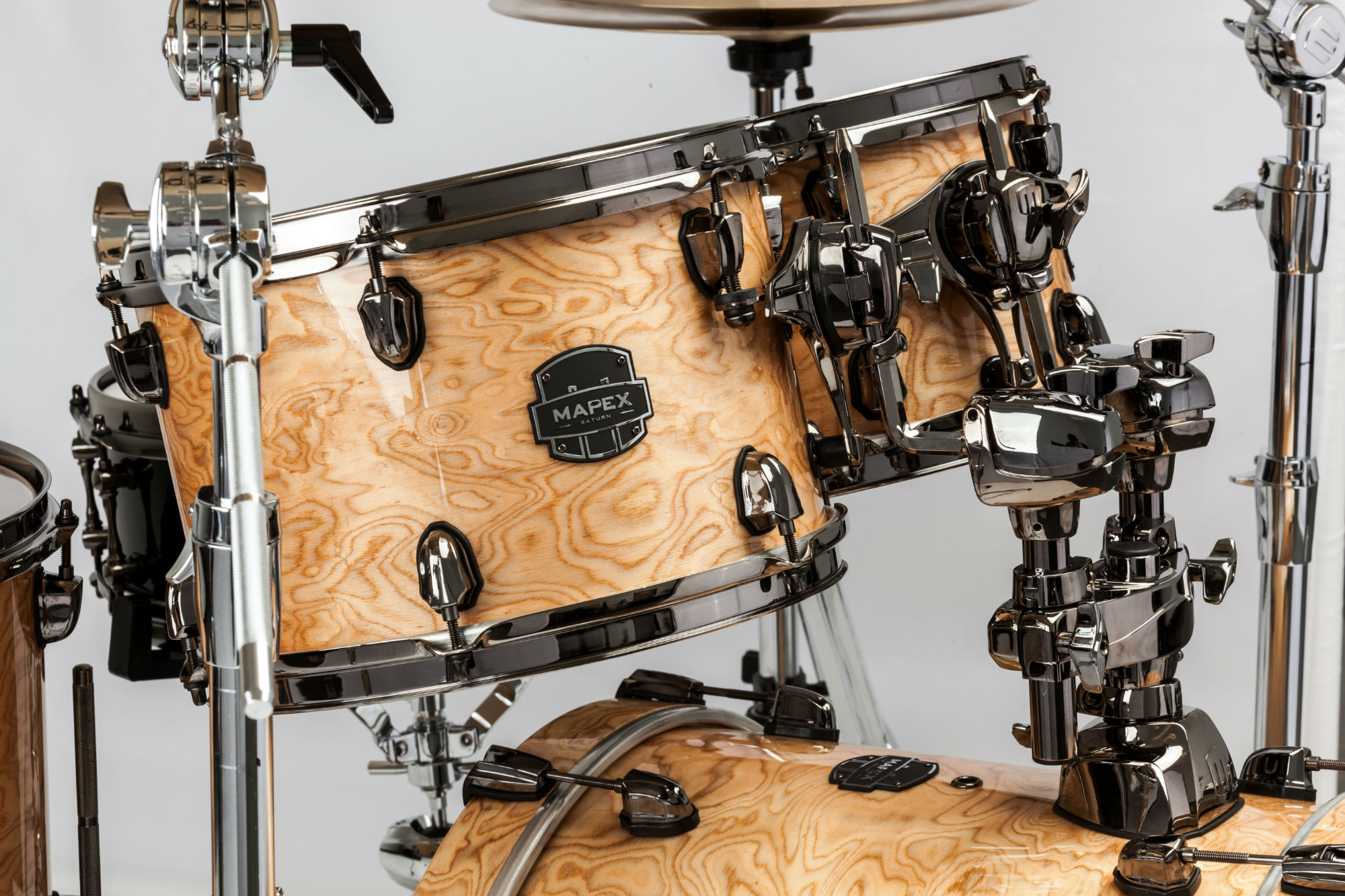 Mapex Saturn V MH Exotic Fusion 4-piece shell pack with SONIClear Edge - SV504XBMXN - Natural Maple Burl