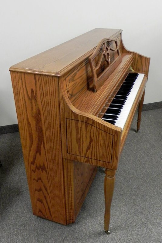 Samick Console Upright Piano - Oak Finish