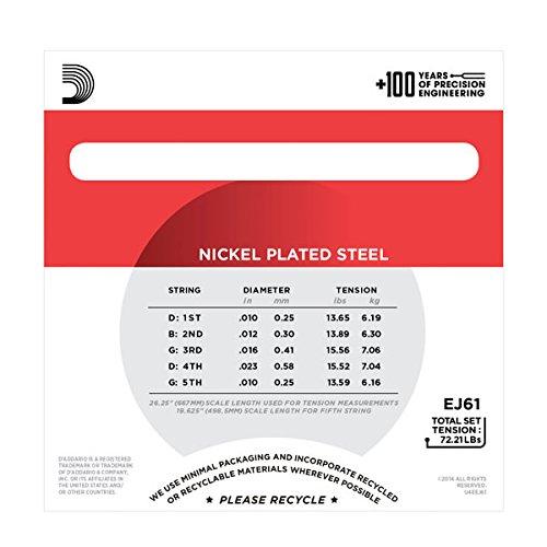 D Addario EJ61 5-String Banjo Strings, Nickel, Medium, 10-23