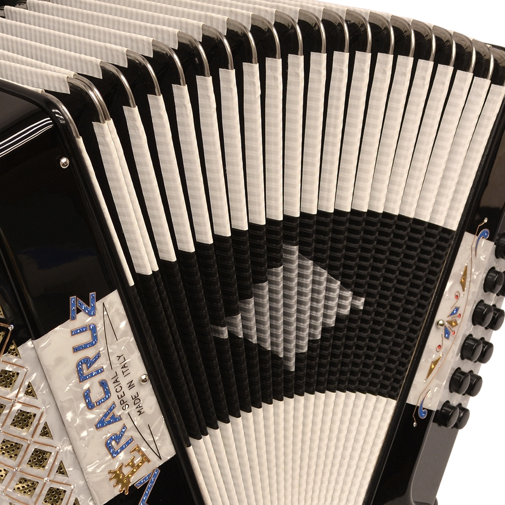 Excalibur Veracruz Special Italy Edition 3 Row Button Accordion - Black / White