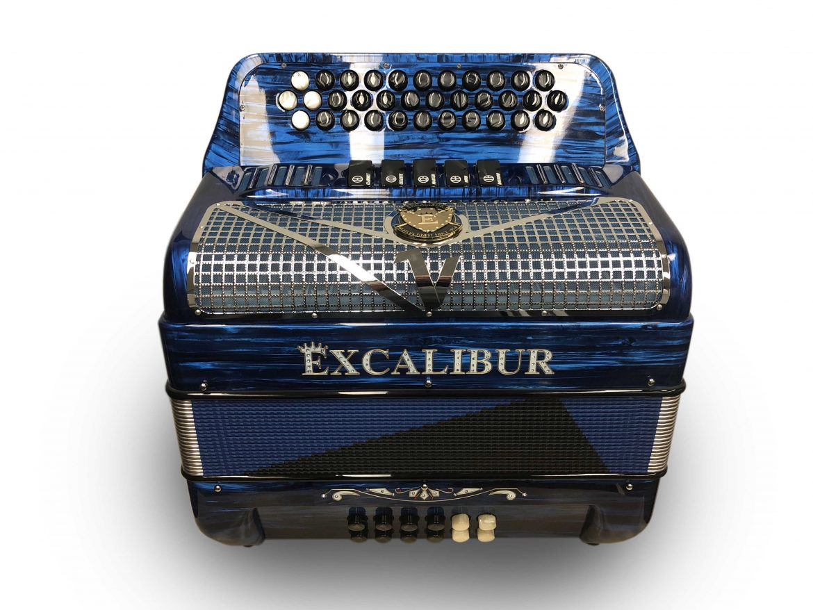 Excalibur Super Classic 5 Switch Button Accordion Blue