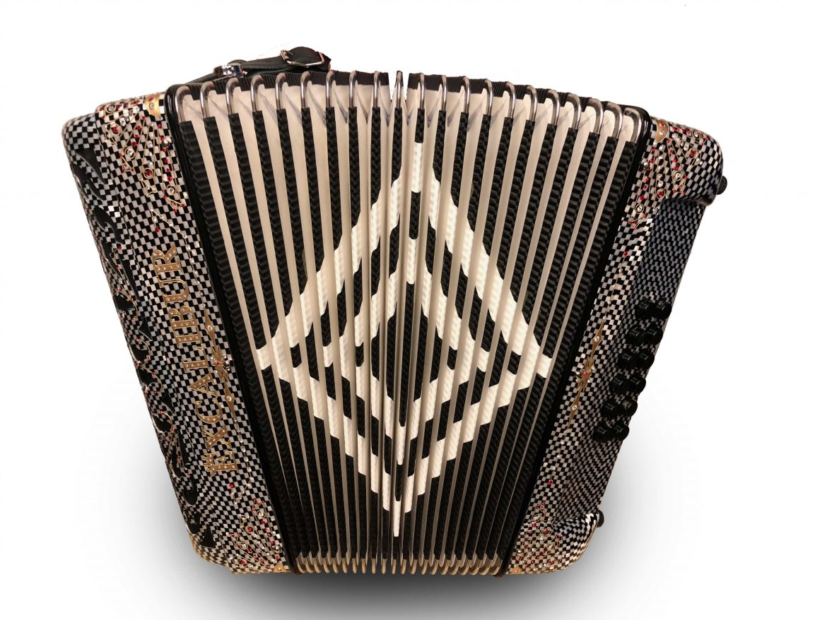 Excalibur Crown Series Switch Button Accordion Carbon Checked