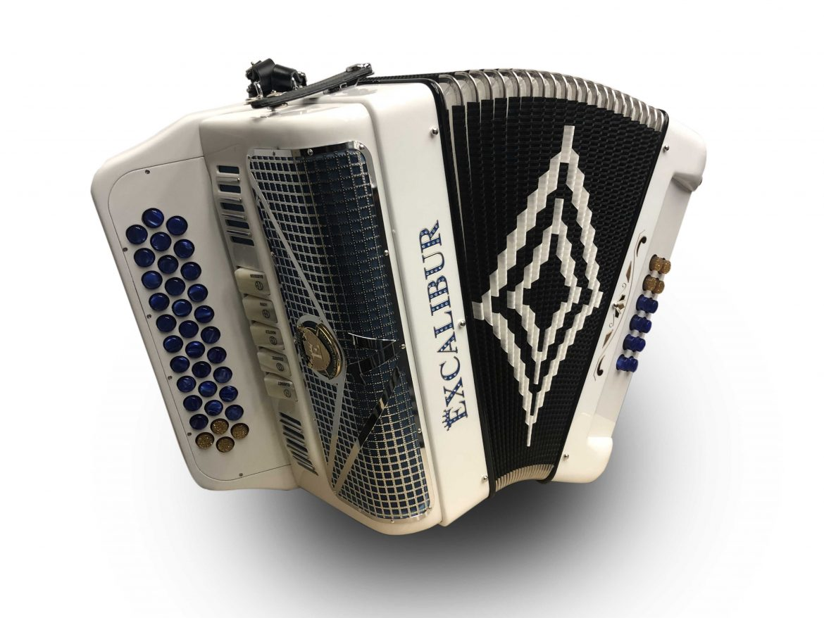 Excalibur Crown Series 5 Switch Button Accordion White
