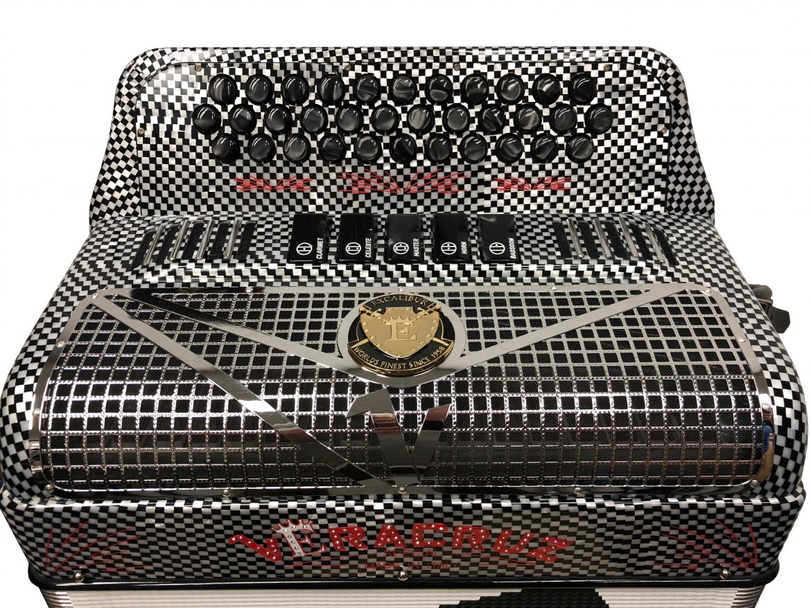 Veracruz Super Italian Special Edition 5 Switch Button Accordion Carbon Checked