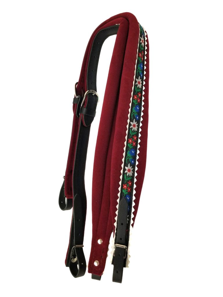 Excalibur Crown Black Leather and Deep Red with Fabric Flower Pattern