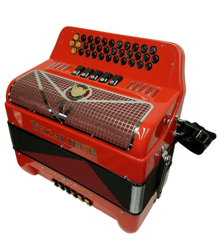 Excalibur Crown Custom 5 Switch Button Accordion Ferrari Red