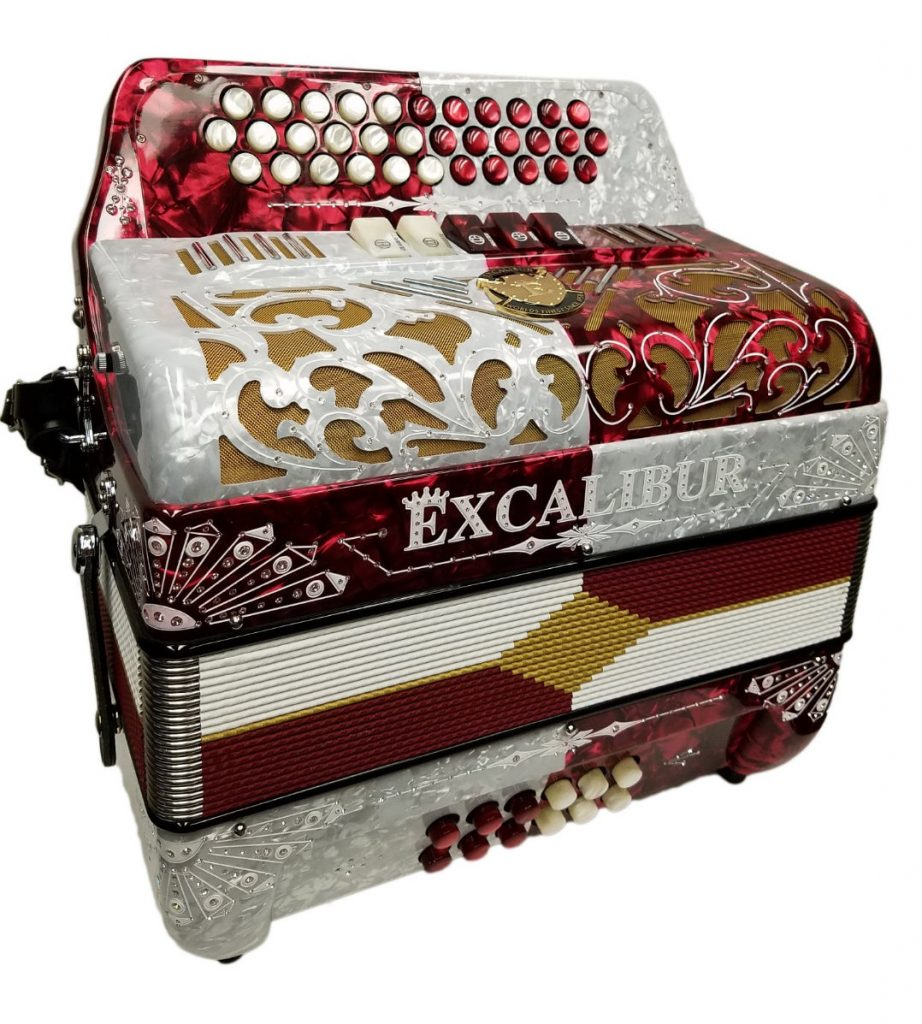 Excalibur 5 Switch Button Accordion Red & White