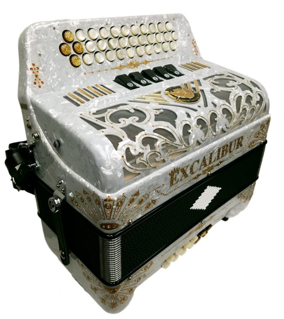 Excalibur Crown Custom Button Accordion white/Gold