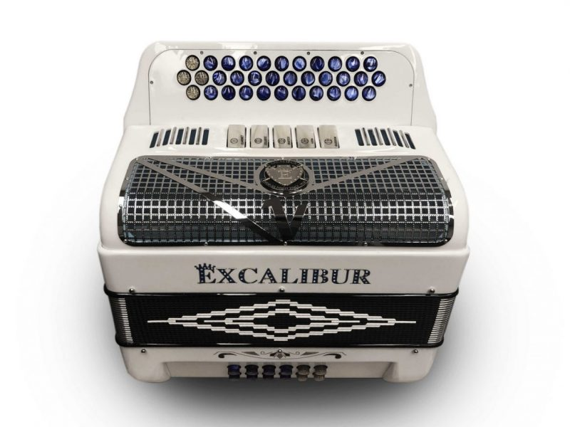 Excalibur Crown Series Button Accordion White